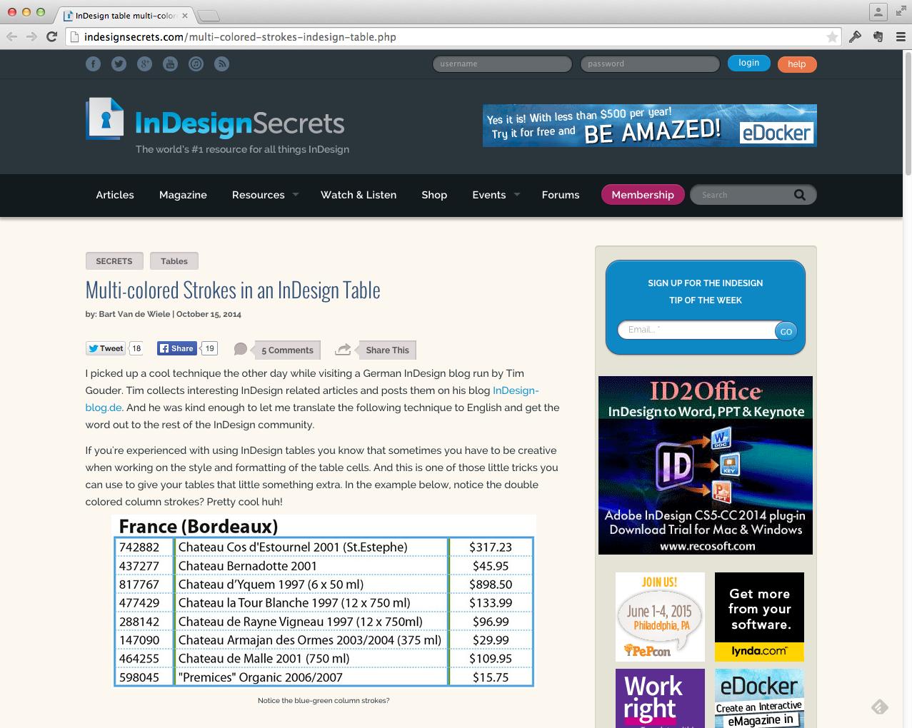 Tipp&Trick Veröffentlichung auf InDesignSecrets.com