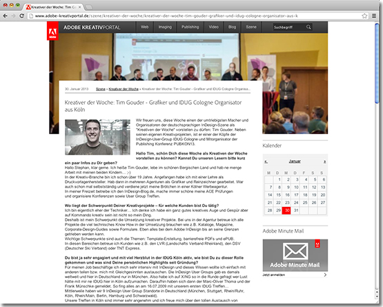 Interview auf dem adobe-kreativportal.de