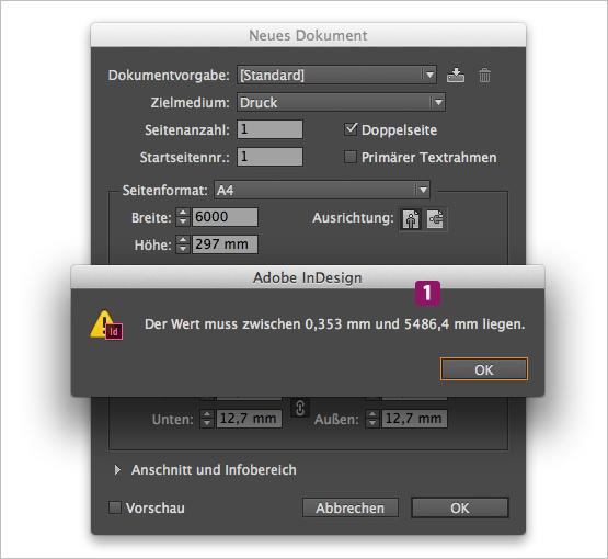 "Screenshot – Dialogfenster ""Neues Dokument"" mit maximalem Seitenformat"