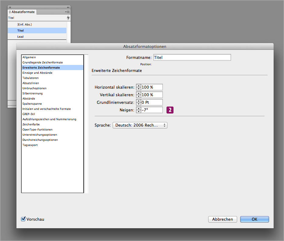 Screenshot – Absatzformatoptionen Dialogfenster