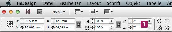 """Screenshot –InDesign Menü-Leiste mit den Feldern """"Dreh- und Scherwinkel"""""""