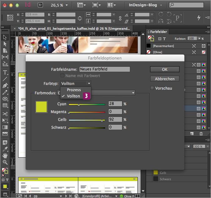 Screenshot – Farbfedoptionen Dialogfenster mit ausgewähltem Farbtontyp: Vollton