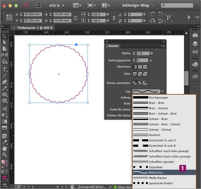 Screenshot – Kreis mit Wellenlinien-Kontur, 1Pt Stärke