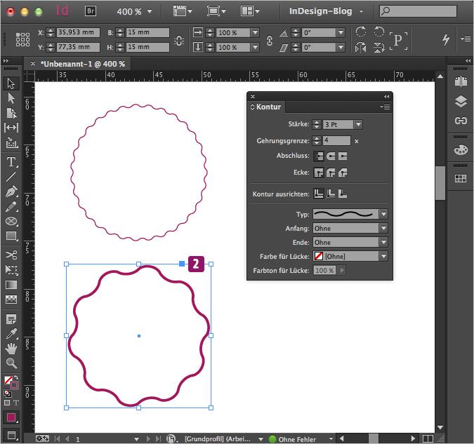 Screenshot – Kreis mit unverändertem Wellen-Linien Muster, 3Pt Stärke