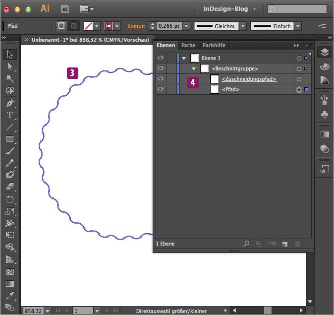 Screenshot –Zum Pfad konvertierter InDesign Kreis in Illustrator