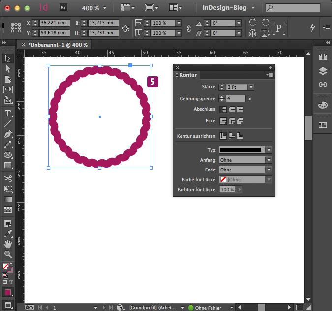 Screenshot –Pfad mit unverändertem Wellen-Linien Muster, 3Pt Stärke