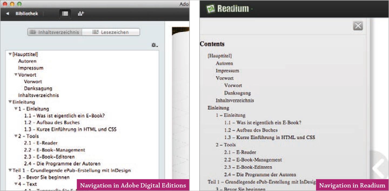Screenshot –Darstellung Navigation Map in Adobe Digital Editions und Readium