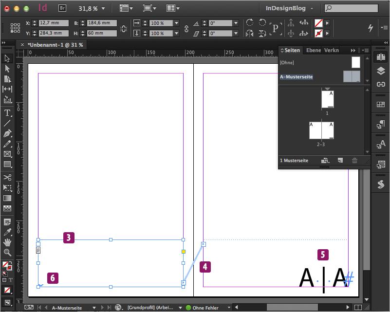 Screenshot – Aufbau Seitenzahlen nur auf rechter Dokumentseite