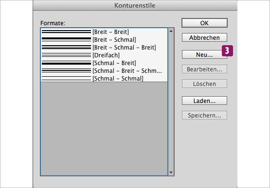 Screenshot – Anischt Konturenstile-Dialogfeld