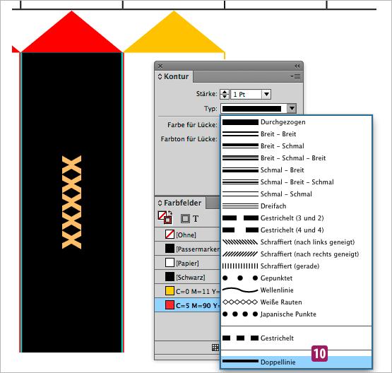 Screenshot – Ansicht Farbfelder-Palette, Konturenstil anwenden