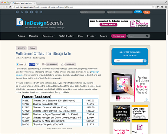 "Screenshot – ""Multi-colored Strokes in an InDesign Table"" Beitrag auf der Webseite InDesignSecrets.com"