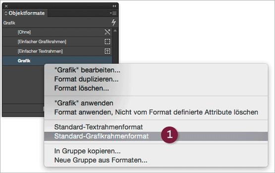 "Screenshot – Objektformate-Palette mit ""Standard-Grafikrahmenformat"" Befehl"