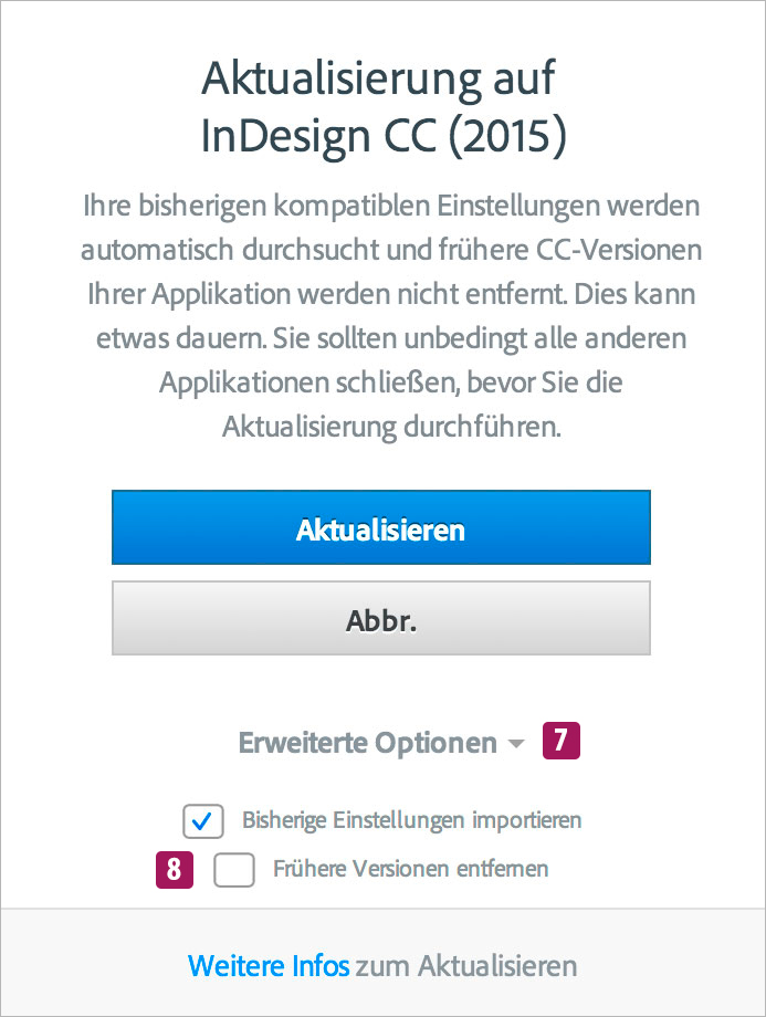 Screenshot – InDesign CC 2015 Update Fenster