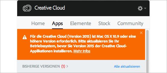 Screenshot – Mindest Systemanforderung für ID CC 2015 MAC OS X 10.9