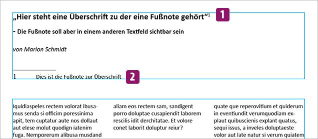 Screenshot – Fussnoten Beispiel, Ausgansproblem