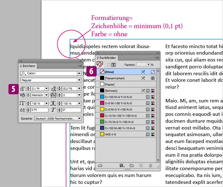 """Screenshot – Fußnote """"unsichtbar"""" formatieren"""