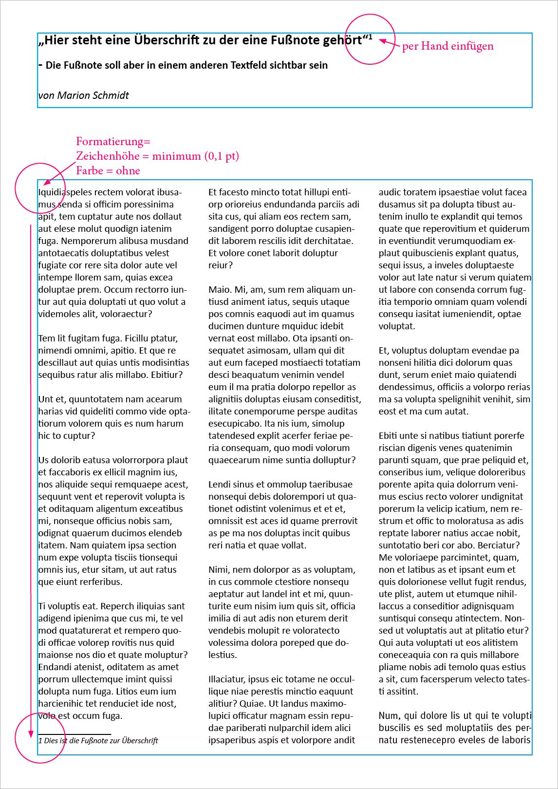 Screenshot – Fußnoten Besipiel, Endresultat