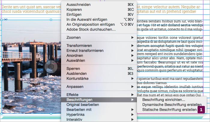 Screenshot – Statische Beschriftung erstellen Dialog-Befehl