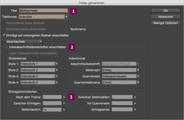 Screenshot – Index generieren Dialog-Fenster