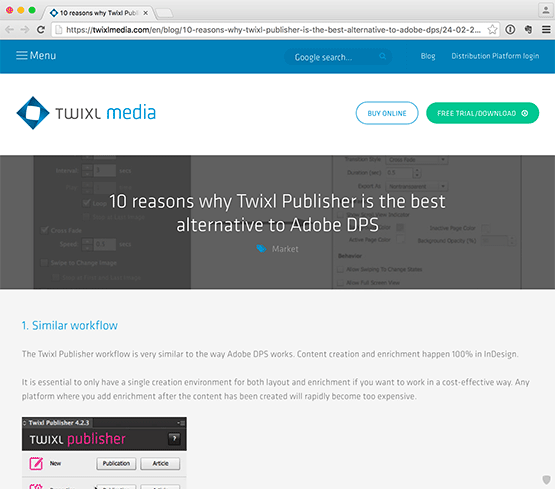 Screenshot – Twixl Media Webseite