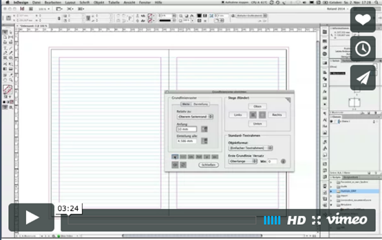 Screenshot – Grundlinienraster per Skript einrichten in InDesign