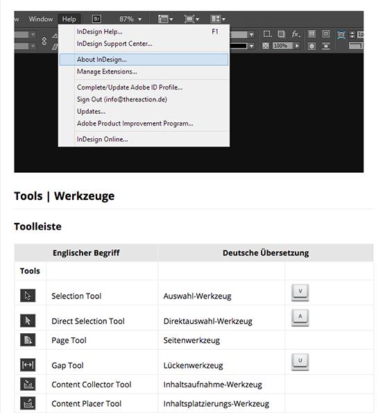 Screenshot – InDesign Benutzeroberfläche: Die komplette Übersetzung von Englisch zu Deutsch