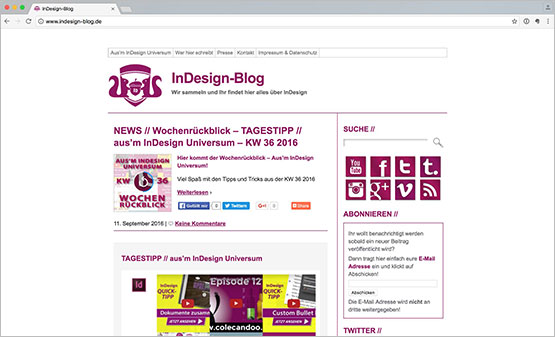 Screenshot – InDesignBlog Webseite – TagesTipp