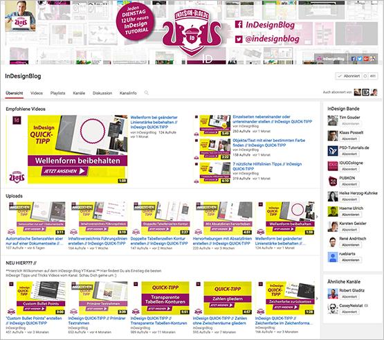 Screemshot – InDesign-Blog.de YouTube Kanal