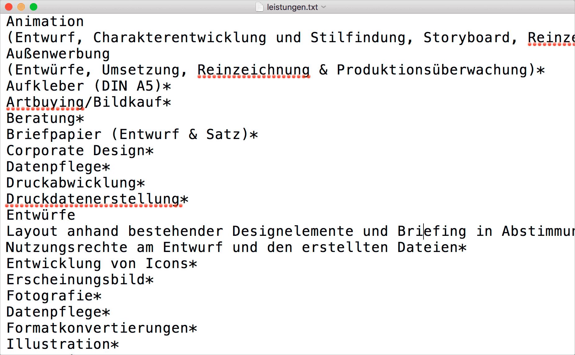 Screenshot – Leistungen.txt Datei