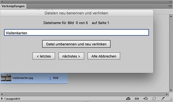 """Screenshot – """"Verknüpfungen aus InDesign umbenennen und neu verlinken"""" Skript"""