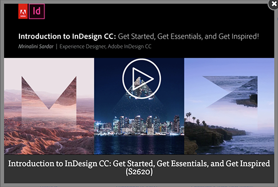 Screenshot – Video [EN] Introduction to InDesign CC: Get Started, Get Essentials, and Get Inspired session by Mrinalini Sardar at #AdobeMAX 2016