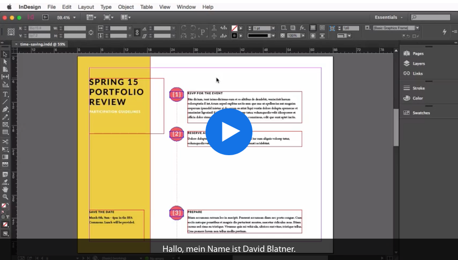 Screenshot – Zeitsparende Funktionen in InDesign