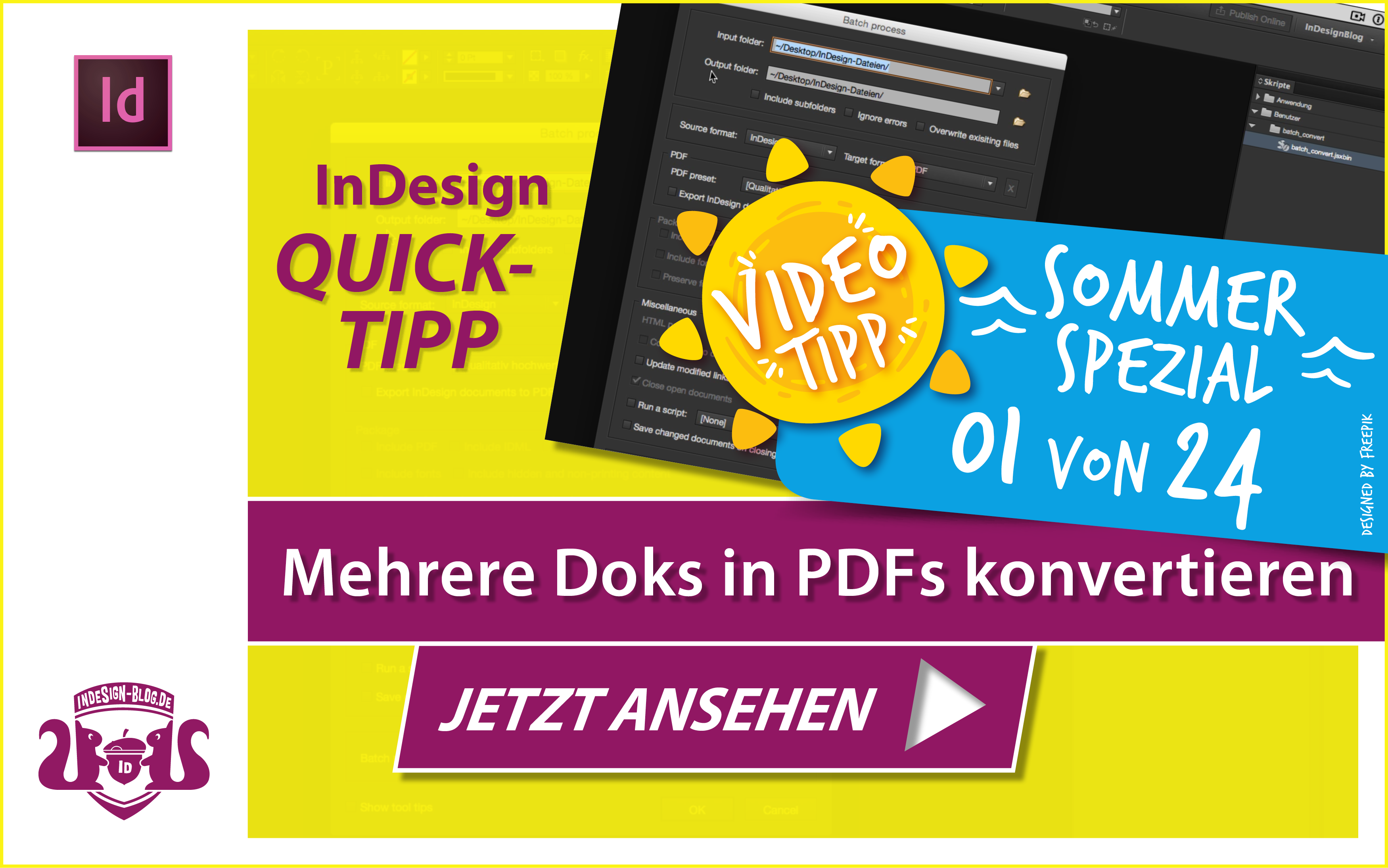 Screenshot – Video Mehrere InDesign Doks in PDFs konvertieren