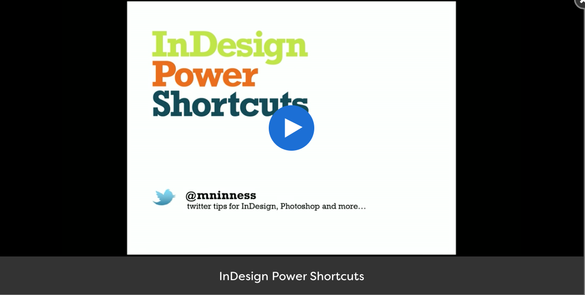 [EN] InDesign Power Shortcuts session by Michael Ninness at #AdobeMAX 2017