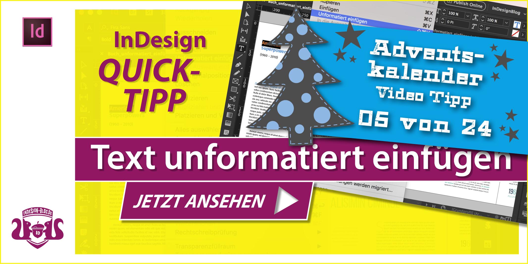 Thumbnail Quicktipp Text unformatiert einfügen in InDesign