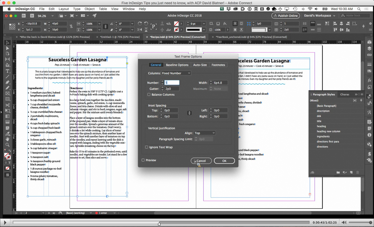 Screenshot – Five InDesign Tips you just need to know, with David Blatner