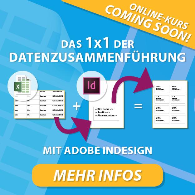 Banner – Online-Kurs: Das 1x1 der Datenzusammenführung in Adobe InDesign